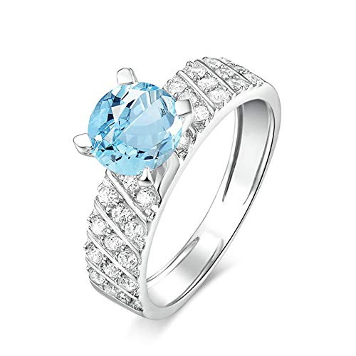 AueDsa Anillo de Plata Mujer 925,Anillo Azul Plata Redondo 7X7MM Topacio Azul Blanco Anillo de Compromiso para Mujer Talla 6,75