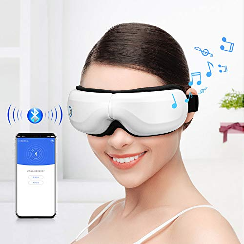 Eye Massager with Heat Vibration, Foldable Rechargeable Eye Massager with Wireless Bluetooth Music for Relieving Eye Strain Dark Circles Eye Bags Dry Eye Improve Sleep Quality Best Gift