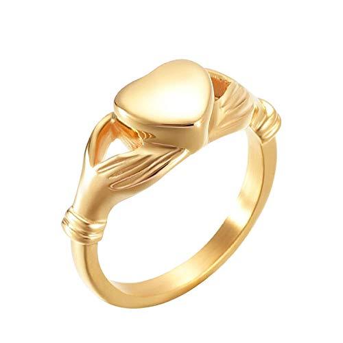 Ysain Colgantes Cenizas Never Fade Luxury Golden Keepsake Heart Enternity Anillo Cremación Joyas para Cenizas