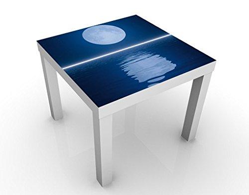 Apalis Table Basse Design Silver Moon Rise 55x55x45cm, Tischfarbe:Weiss;Größe:55 x 55 x 45cm