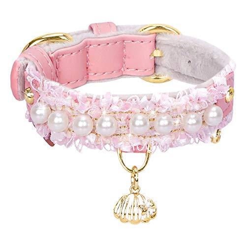 PetsHome Collar de perro, collar de gato, [hermoso encaje] [linda perla] cuero sintético de alta calidad ajustable de 26,4 a 32,5 cm (26,5 a 32,5) collar de perro con colgante de concha pequeño rosa