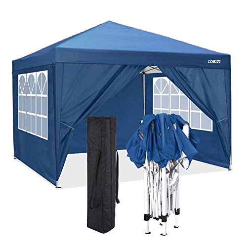 COBIZI Gazebo 3 x 3 Waterproof Gazebo Tent Wedding Party Instant Event Shelter with 4 Removable Sidewalls, Stakes x 8, Ropes x 4