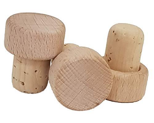 6 Griffkorken, Griff aus Holz -Natur - Stopfen Durchmesser 20 mm, Korken