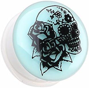 Glow in the Dark Rose Sugar Skull Single Flared WildKlass Ear Gauge Plug Sold as Pairs product image