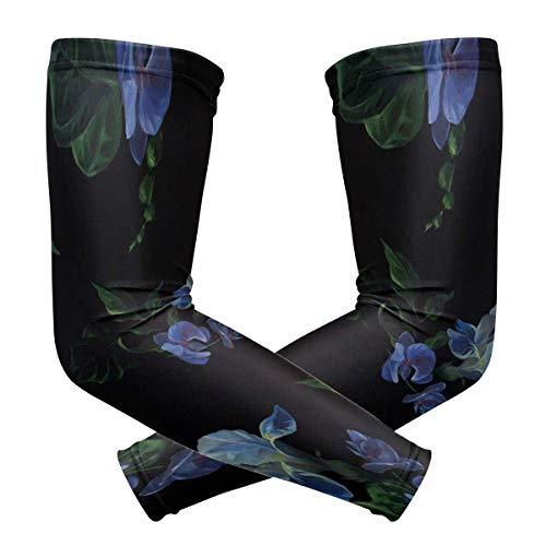 Mangas de bloqueo del sol para las mujeres de fondo negro oscuro flores mágicas impresión de hielo seda de seguridad de los brazos de las mangas del brazo cubierta de secado rápido y transpirable mujeres camisas de manga larga protección UV para unisex al aire libre