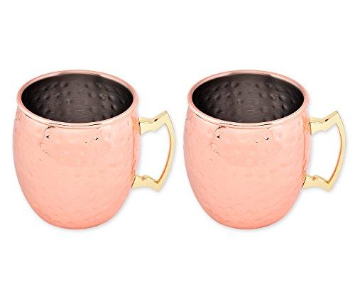 DSstyles Moscow Mule Mugs 2 Pièces 500 ML en Acier Inoxydable Tasses en cuivre martelé Mugs pour Les Tasses à bière Cocktail - Or Rose