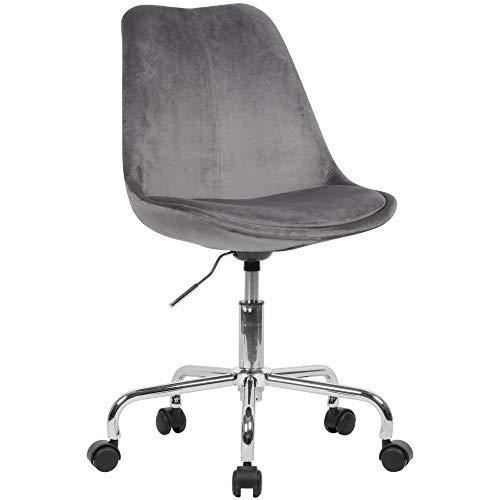KADIMA DESIGN - Silla de escritorio (terciopelo), color gris oscuro