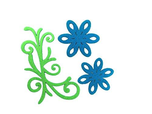 Petra S Kit Creativo News a vif1530F57Feltro Fiori Set 3Diversi Designs, 30Pezzi, in Feltro Colore: Turchese/Verde Mela