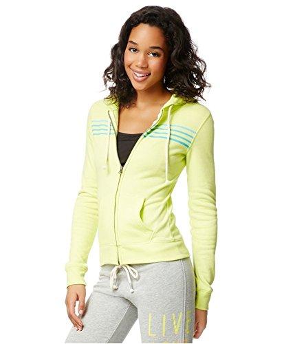 Aeropostale Womens Striped FZ Hoodie Sweatshirt, Yellow, Medium