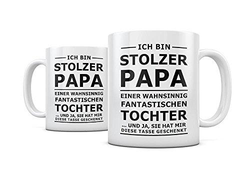 Geschenkedirekt Tasse STOLZER PAPA, Kaffeetasse Kaffeebecher Kaffeepot Frühstückstasse Bürotasse
