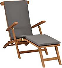 Unfade Memory Wooden Deck Chair with with Detachable Footrest and Cushion,Teak Garden Foldable Chair Furniture, Outdoor Sunlounger for Backyard Patio Garden Lawn Balcony (Dark Gray)