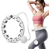 Magnetfeldtherapie Smart Fitness Ring Hula Hoop, Bodybuilding-Kreis Gewichtsverlust Ring Mit Anzeige, Körperformungskreis 360 ° Surround Massage Sportring,Größe können geändert Werden (White)