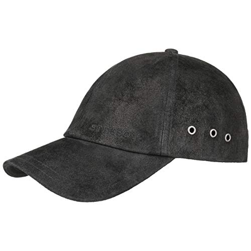 Stetson Rawlins Pigskin Basecap (Vintage-Look) Herren/Damen - Verstellbar (Strapback ca. 55-61 cm) - Baseballcap aus Leder (Schirmlänge 7 cm) - Mit Baumwollfutter - Sommer/Winter schwarz One Size