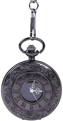 Reloj de bolsillo reloj de bolsillo del cuarzo del patrón clásico de grabado número romano y fácil Mujeres universal cadena de los hombres de la vendimia for llevar Smooth cuarzo reloj de bolsi