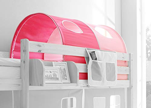 Tunnel für Kinderbetten mit Farbauswahl, Vorhangstoff:Rosa Pink 2 teilig