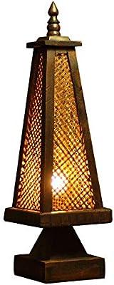 ルームランプ和風古代素朴な木製ダイニングベッドルームベッドサイドヴィンテージためのランプ表デスクランプアーティスト木製ランプ (Color : Natural)