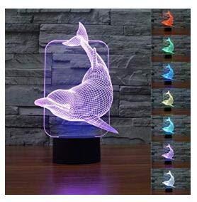 3D-Nachtlicht mit Delfin-Motiv, Illusionslampe, 7 Farben, LED, Touch-USB, Tischgeschenk, Kinderspielzeug, Dekoration, Weihnachten, Valentinstag, Geschenk
