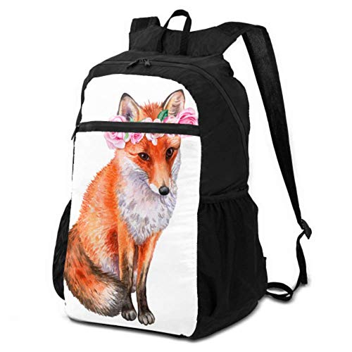JOCHUAN Waterproof Daypack for Travel Cute Fox and Fragrant Flowers Packable Backpack Men Foldable Hiking Backpack Lightweight Waterproof for Men & Womentravel Camping Outdoor
