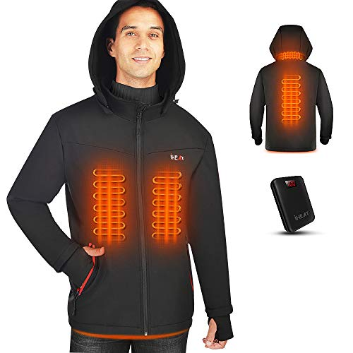 IHeat Men's Heated Jacket Soft Shell, Winter Jacket Heated Hoodie, Warm Coat with 14400 mAh Battery...