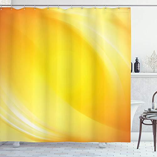 ABAKUHAUS Digital Duschvorhang, Gelbe Linien Ombre, mit 12 Ringe Set Wasserdicht Stielvoll Modern Farbfest & Schimmel Resistent, 175x200 cm, Gelb & Weiß