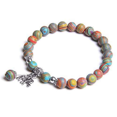 HOULAI Pulsera de cuentas de piedra natural Shoushan de moda para mujer, color plateado, colgante de elefante, pulsera para mujeres y niñas