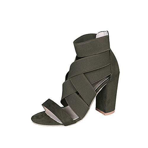 Geilisungren Damen Knöchelriemen Sandalen mit Blockabsatz Heel Cut Out Sandalen Offene Hoher Absatz Wildleder Peep Toe Sommer Sexy Bequeme Abendschuhe mit Reißverschluss
