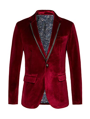 THWEI Mens Velvet Blazer Slim Fit Solid Blazer Sport Coat (XXXL, Red)