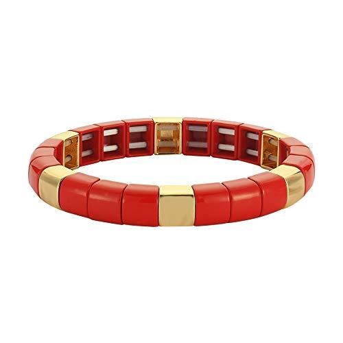Luzdemia Oro pulido y rojo en Tila, longitud: 20 cm pulsera de nueva temporada