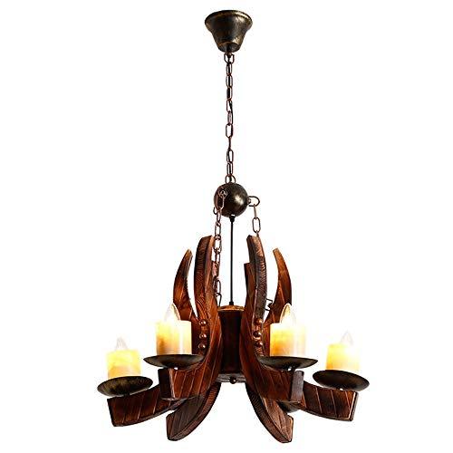 Lámpara de techo Retro estilo industrial bambú araña de madera tamaño 65 cm * 100 cm lámparas y linternas pequeño araña restaurante patio corredor corredor salón balcón sala (luz cálida) decoración
