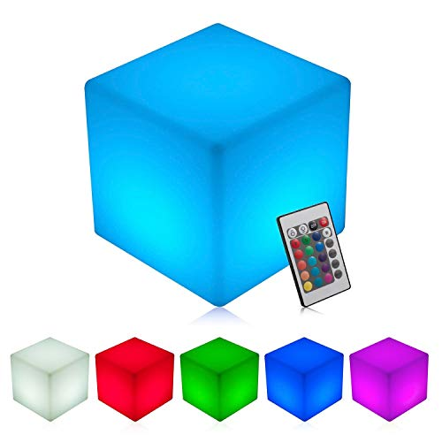INNOKA 15.8-Inch Extra Large LED Cube Light, IP65 Waterproof Cordless & Rechargeable Decorative Dimmable Mood Lamp Remote Control [16 RGB Color Changing] [4 Lighting Effects] for Pool, Outdoor, Party