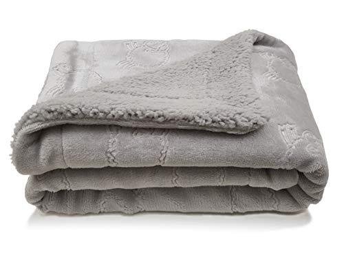 eYone New Fleece Boy or Girl Baby Blanket Sheep Embossed with Sherpa (75*100cm) (grey)