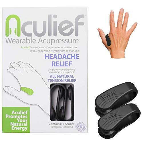 Aculief - Preisgekrönter natürlicher Kopfschmerz, Migräne, Spannungsabbau tragbar - Unterstützung der Akupressurentspannung, Stress, Muskelschmerzen 2 Packung - (X-Klein/Kinder Schwarz)