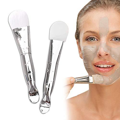 Pennello per Maschera, 2 Confezioni: Pennello in Silicone / Pennello Morbido, Design a Doppia Testa con Funzione di Raccolta e Esciugatura, Utilizzato per Fango Maschera Facciale, Lozione, Fondotinta