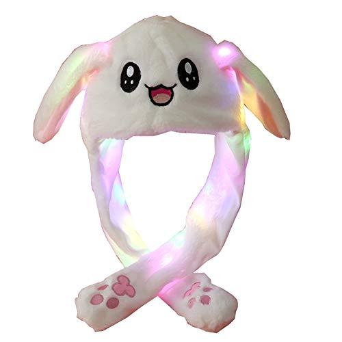 YEKEYI Sombrero de conejo LED Oído Moving Jumping Hat Funny Bunny Plush Hat Cap Cosplay Navidad Fiesta Fiesta Sombrero de vacaciones