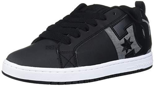 DC Men's Court Graffik SQ Skate Shoe, Black/Heather Grey, 8 D M US