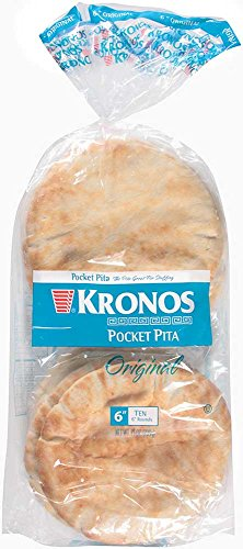 Kronos Frozen Flat Bread White Authentic Pocket Pita, 6 inch -- 120 per case.