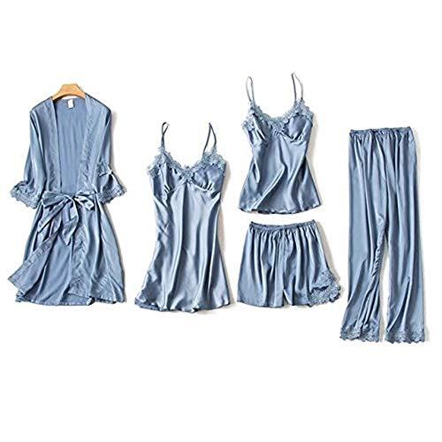 AFUPO 5PCS Conjunto de Pijama Camisón Ropa para el hogar Túnica Mujeres Sexy Ropa de Dormir con Manga de Encaje, Gris, M 🔥