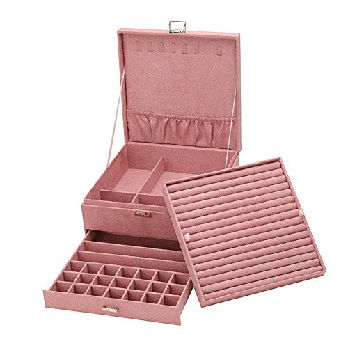 Desconocido Generic Organizador de Caja de joyería para Mujeres y niñas, Caja de Almacenamiento de Tres Capas para exhibición de Joyas para Collar Pendientes Pulseras - Rosa
