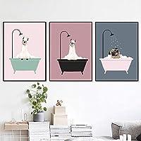 北欧の漫画素敵な犬の入浴ミニマリズムキャンバス絵画ポスターとプリント壁の写真のリビングルームの装飾60x80cmx3pcsフレームなし