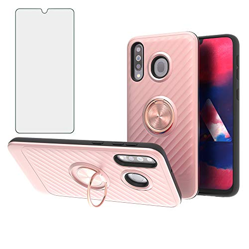 Compatible Samsung Galaxy A40S M30 Phone Case with Tempered Glass Screen Protector Cover Stand 360 Degree Ring Kickstand for Glaxay A 40 Gaxaly SM 40A S 40S 30 M 30M Galaxies GA40 GM30 2019 Rose Gold
