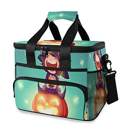 Kühltasche, Halloween Little Witch Girl Kinderkostüm 15l große isolierte Lunch-Tasche Picknickkühler, weicher Kühler