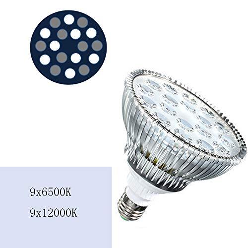 54W LED lumière d'aquarium E27 Blanc 6500K 12x12x12cm Ampoule de Croissance de Plantes Veg pour l'éclairage d'aquarium d'aquarium d'eau Douce La Perle Lumineuse de la Lampe est Douce et Lisse