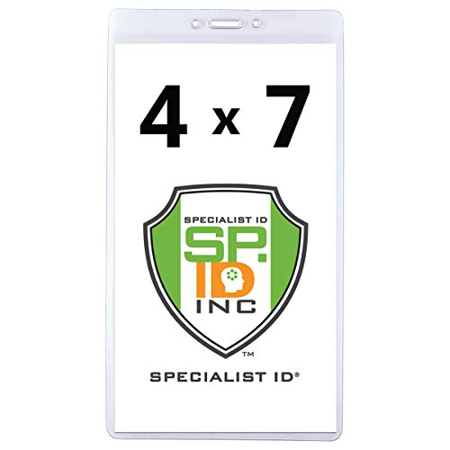 Extra Large 4 1/8 X 7 1/2 Ticket & Badge Holder - Heavy Duty Clear Plastic 4 X 7 Card Insert Protector for Sports Tickets, Press Passes and Name Badges by Specialist ID