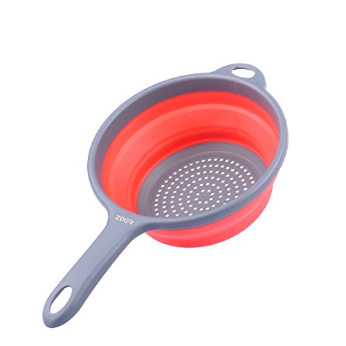 ZOER Kitchen Foldable Pasta Strainers,Collapsible Colanders with Handles,Space-Saver Folding Silicone Strainers Colander,Capacity of 2 quart (Red)