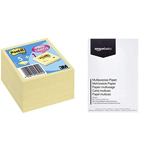 Post-It 654Y - Notas adhesivas, 6 unidades + AmazonBasics Papel multiusos para impresora A4 80gsm, 1 paquete, 500 hojas, blanco