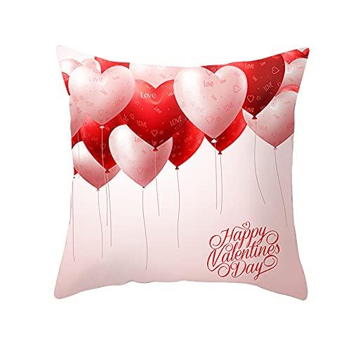 MissW Funda De Almohada Decorativa De La Serie Red Heart con Cremallera Sin Funda De Cojín De Almohada Adecuada para Sofá De Oficina