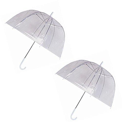 2 Pacco Pioggia Gli Ombrelli Cupola Gabbia Per Uccelli Chiaro Trasparente PVC Plastica Nozze Vedere Attraverso Bastone Baldacchino Leggero