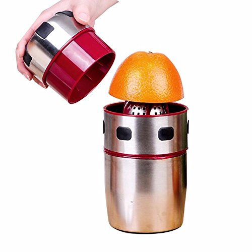 ZHJ Exprimidores Exprimidor de Acero Inoxidable Potente portátil de rotación Manual de la Tapa de la licuadora cítricos exprimidor de Jugo de limón Mandarina Naranja
