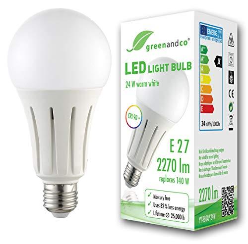Lampadina a LED greenandco IRC 90+ E27 24W (equivalente 140W) 2270lm 3000K (bianco caldo) 270° 230V AC, nessun sfarfallio, non dimmerabile