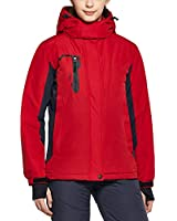 TSLA DRST Women's Winter Ski Jacket, Waterproof Warm Insulated Snow Coats, Cold Weather Windproof Snowboard Jacket with Hood, Color Block(xkj70) - Red, XX-Large
